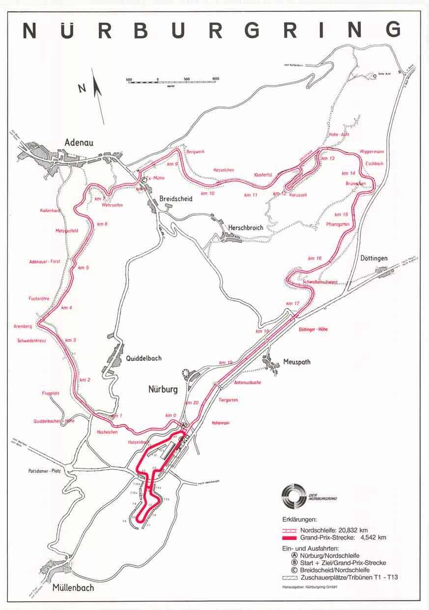 Mapa del circuito de Nrburgring (Sdschleife y Nordschleife)